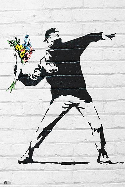 Flower Bomber by Banksy - 24 X 36 inches  (Art Print)