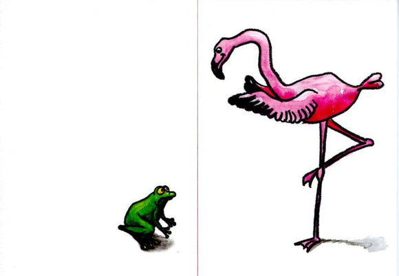 Pink Flamingo with Frog by Sophie Turrel - 4 X 6 Inches (Greeting Card)