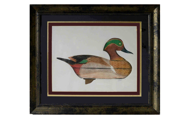 Green Wingteal Drake Decoy, 1965 (Framed Lithograph with Triple Matte Numbered & Signed) 80/150