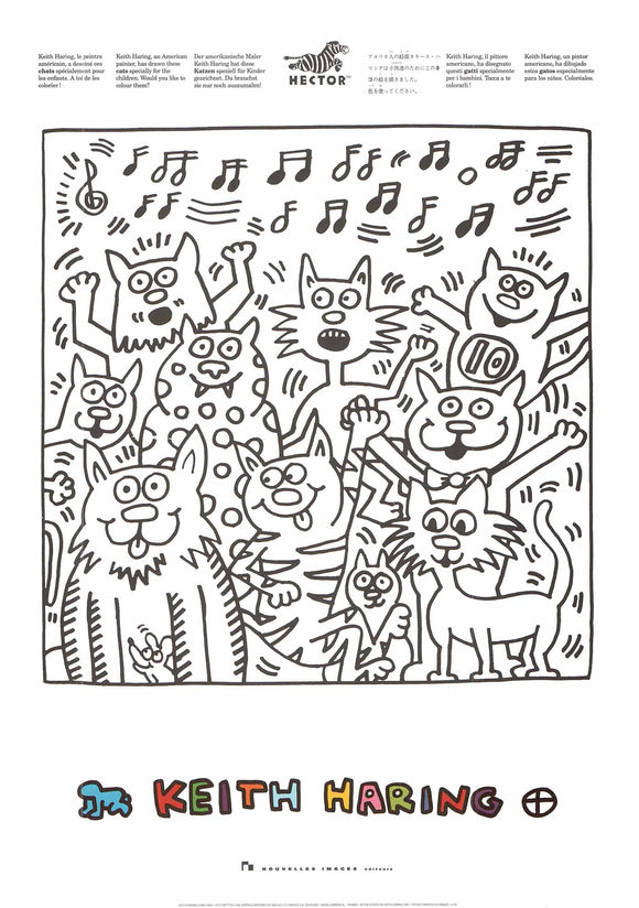 Singing Cats by Keith Haring - 20 X 28