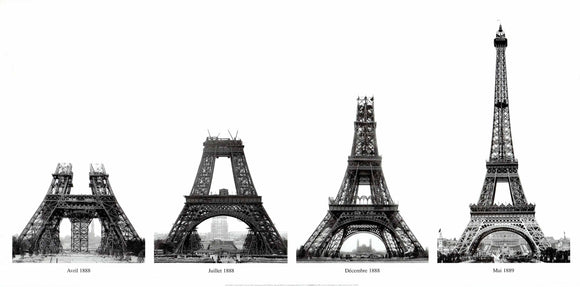 Construction of The Eiffel Tower by Viollet Boyer - 20 X 40 Inches (Art Print)