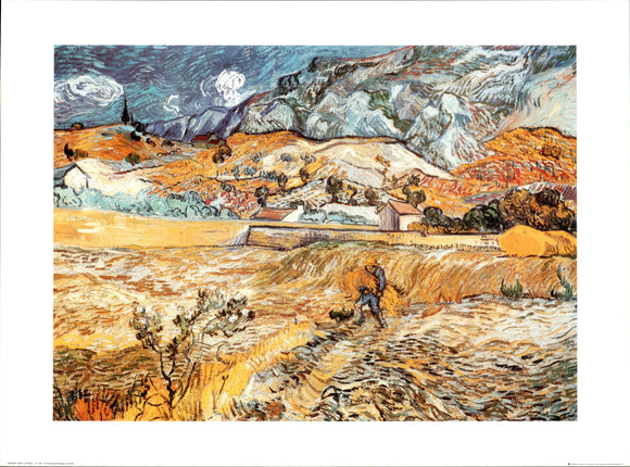 Landscape at S. Remy by Vincent Van Gogh - 24 X 32 Inches - Fine Art Poster.