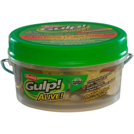"Berkley Gulp! Alive! Shrimp 3"" /Peeler Crab 2"" Assortment, Small Bucket - Fishing Supercenter"