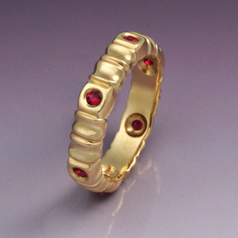 """Bamboo"" Ring with Rubies"