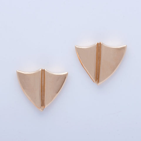"""Split Shield"" Post Earrings"