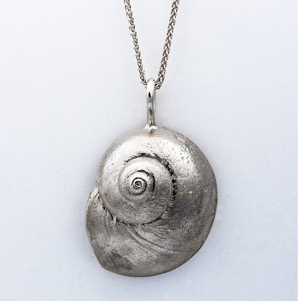 """Moonshell"" Pendant in Sterling Silver (Available in three sizes)"