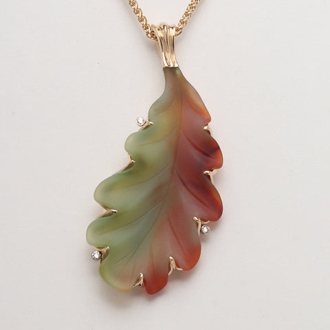 Agate Leaf One-of-a-Kind Pendant with Diamonds (Available in 14k yellow gold)