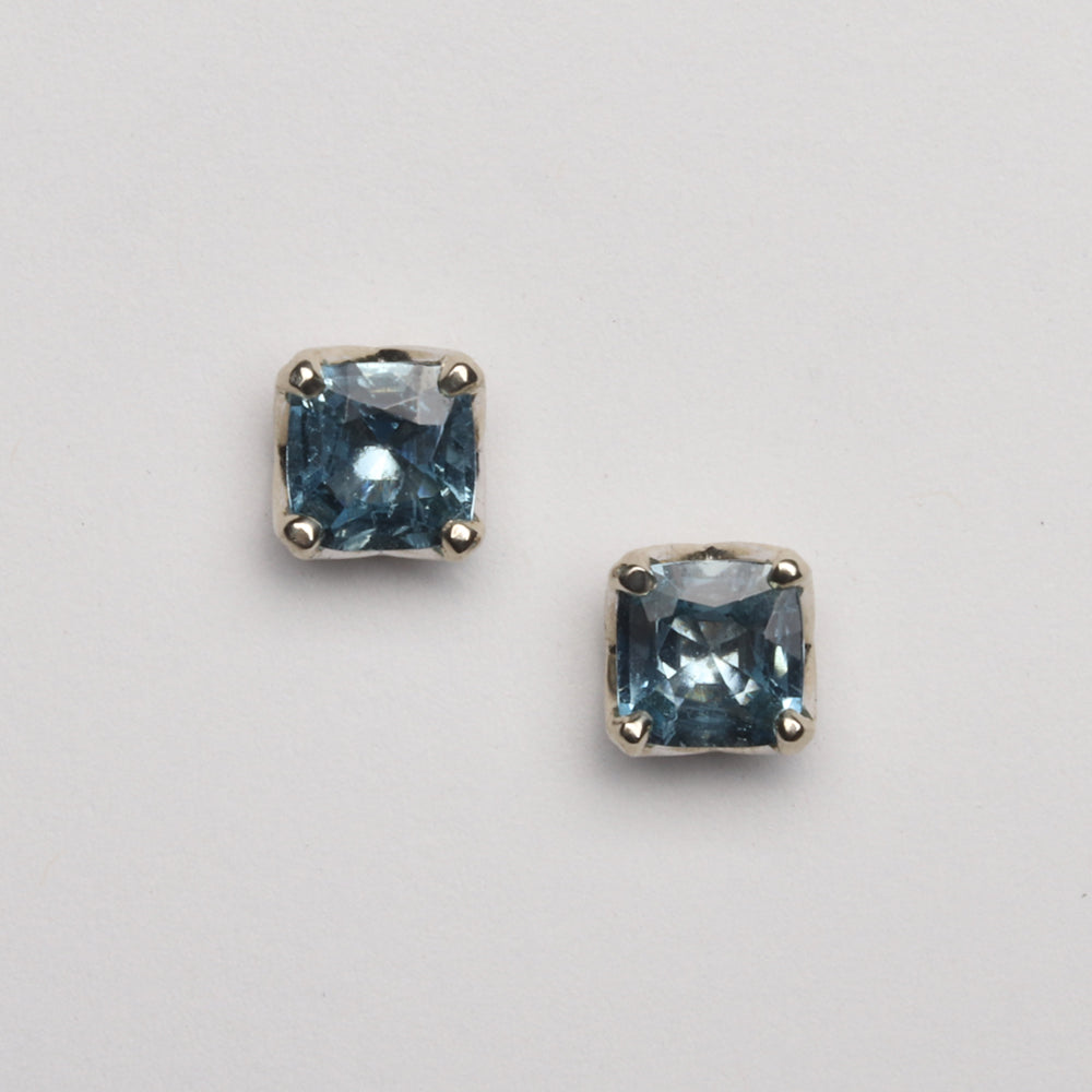 Aquamarine, Square Cushion Studs (Available in 14kw, others made to order)