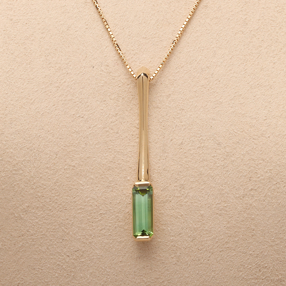 """Bar"" Pedant with Green Tourmaline (Available in 14ky gold, others made to order)"