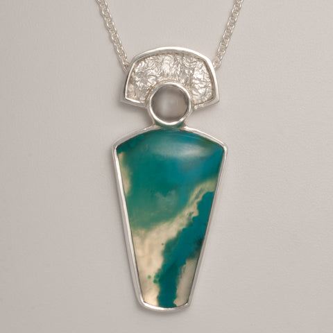 Chrysocolla Quartz and Moonstone Pendant (Available)