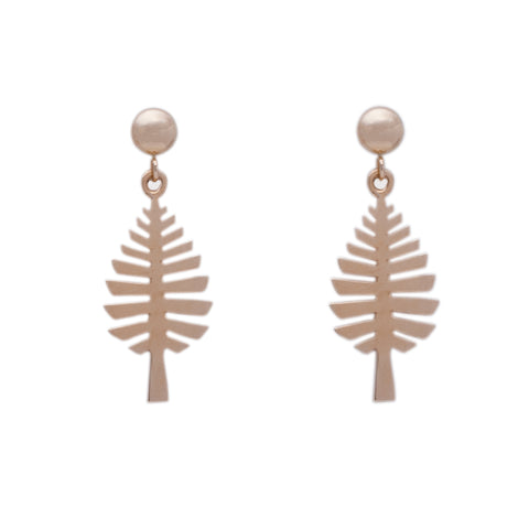 """D Pine"" Ball Post Earrings (Available in Sterling Silver; others made to order)"