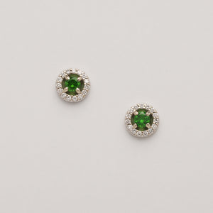 Demantoid Garnet Halo Stud Earrings (Available with diamonds in 14kw gold, others made to order)