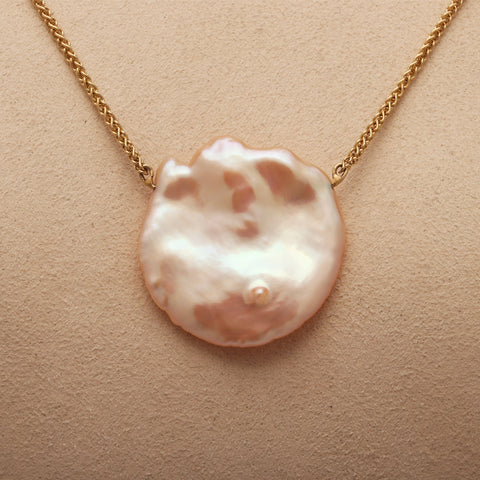 "Large Round Fresh Water ""Keshi"" Pearl Necklace on 14ky Gold chain (Available)"
