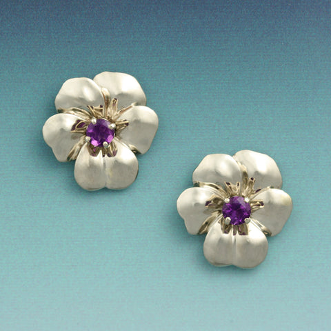 """Pansy"" Earrings with Center Gemstones"