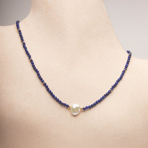 Lapis Lazuli and Pearl Necklace (Sold. Similar necklaces made to order)