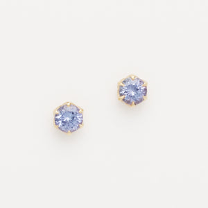 Light Round Tanzanite Studs (Available in 14ky, others made to order)