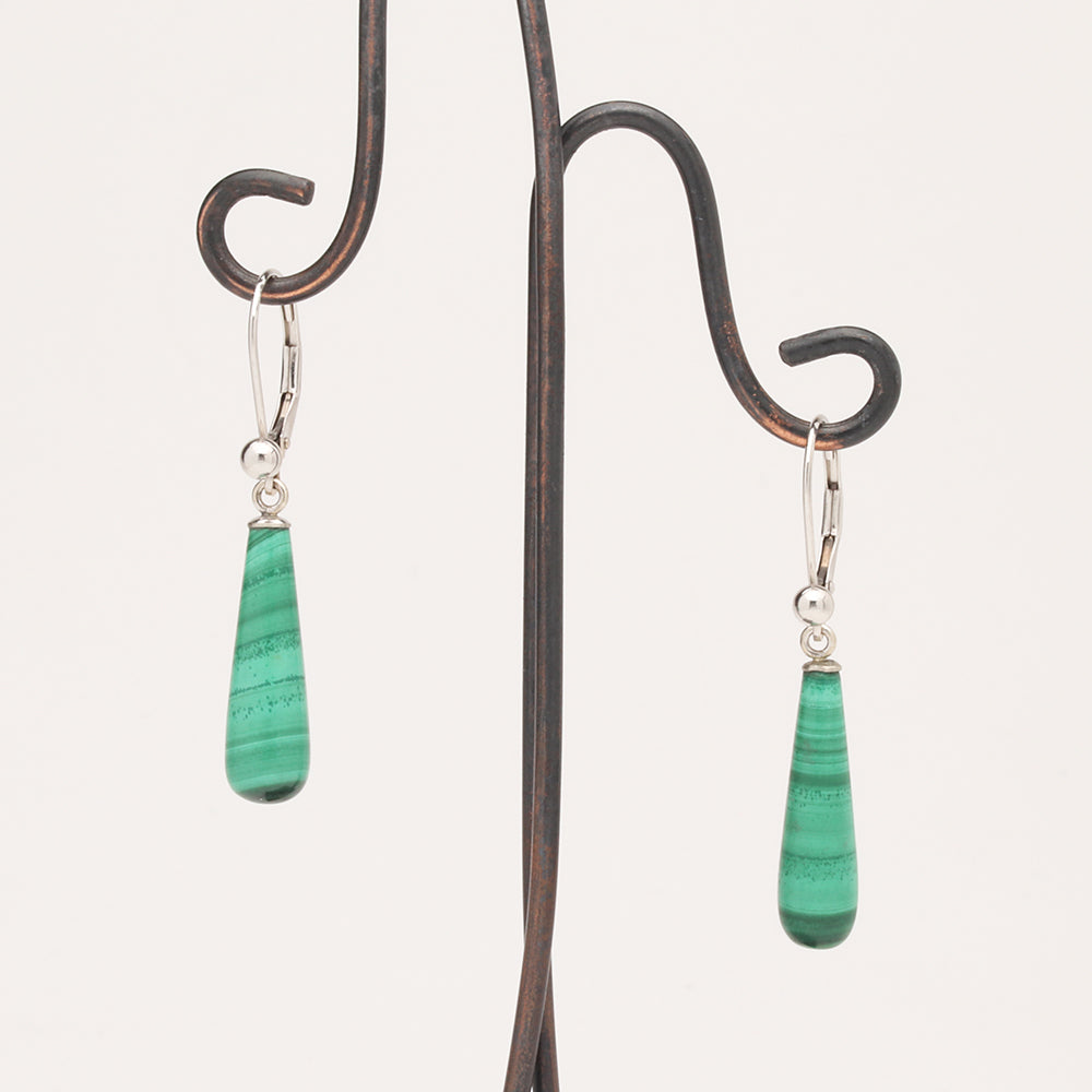 Malachite Drop Earrings (Available on 14kw Leverbacks; similar earrings made to order)