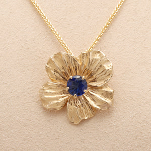 """Nasturtium"" Limited Edition Large (Available in 14ky with Blue Sapphire, others made to order)"