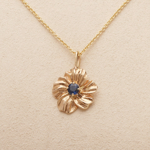 """Nasturtium"" Limited Edition Small (Available in 14ky gold with Blue Sapphire, others made to order)"