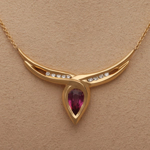One-of-a-Kind Pink Sapphire and Diamond Necklace (Available in 18ky gold)