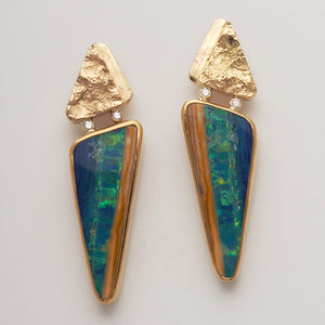 Opal Doublet Earrings with Diamonds (Available in 18ky)