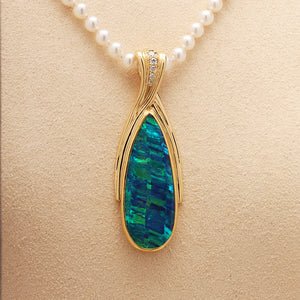 One-of-a-kind Opal Doublet & Diamond Pendant (Sold. Similar Pendants can be Designed & Made.) Prices will vary.
