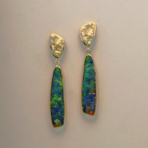 New Opal Doublet Earrings (Available in 18 karat yellow gold)