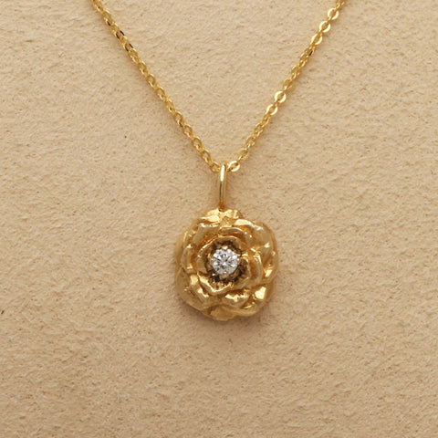 """Small Rose"" Limited Edition Pendant (Available in 14ky with Diamond, others made to order)"