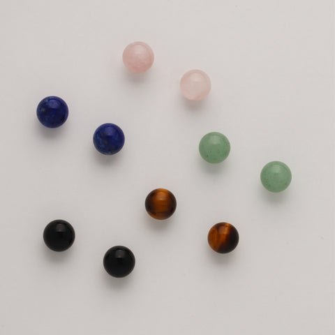 8 mm Stone Ball Studs on 14ky gold posts (Available in these stones, others made to order)