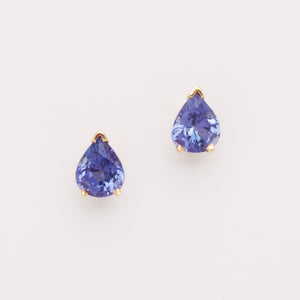 Pear-Shaped Tanzanite Studs (Available in 18ky, others made to order)
