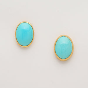"""Sleeping Beauty"" Turquoise Post Earrings (Available in 22ky gold bezels)"
