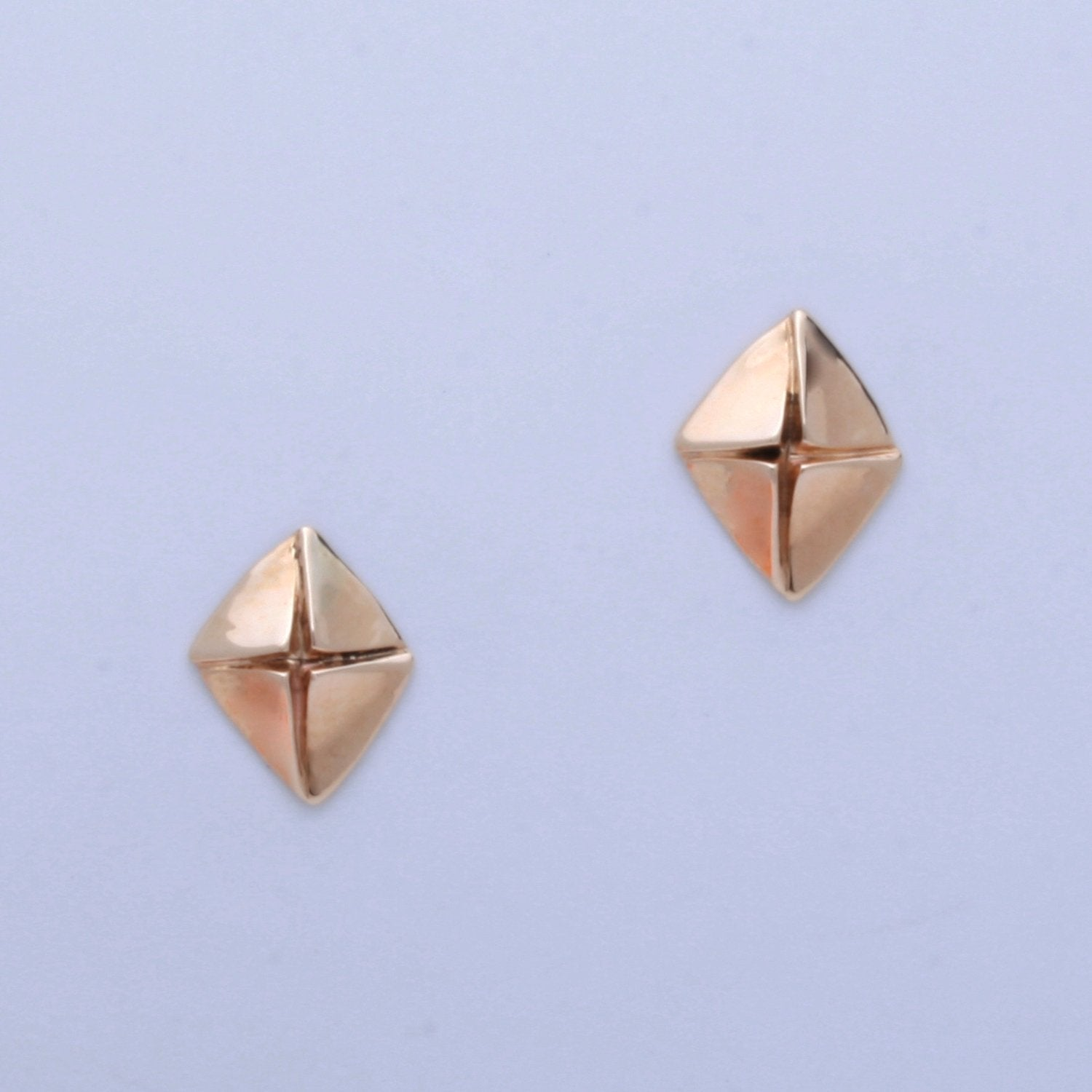 """4 Triangles in Diamond"" Post Earrings (Available in 14kw & y; others made to order)"