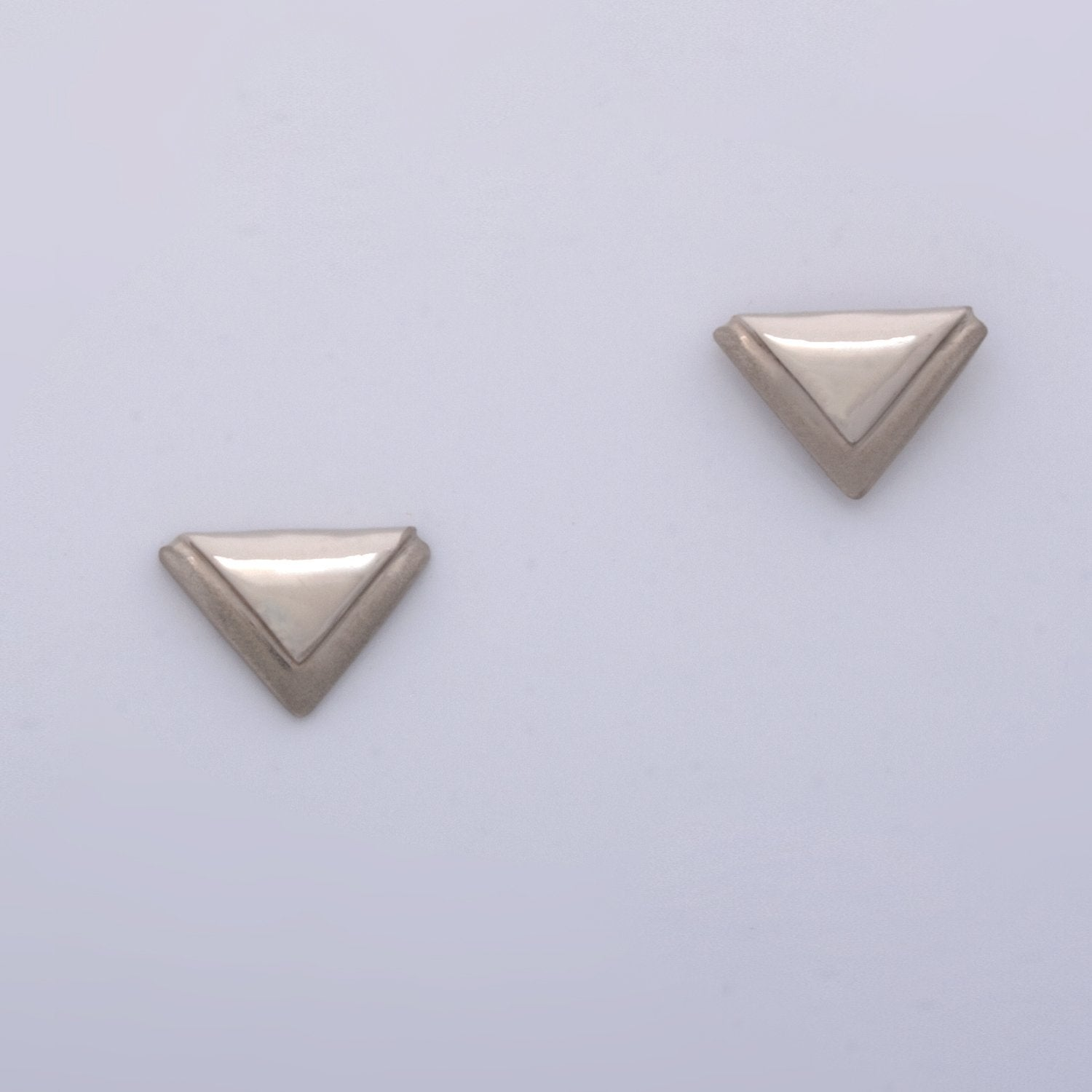 """Tri on Tri"" Post Earrings (Available in 14kw & y; others made to order)"