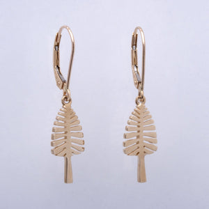 """Lone Pine"" Lever Back Earrings (Available in Sterling Silver, 14k white and yellow gold; others made to order)"