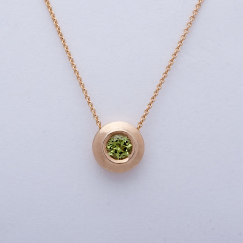 """Wafer"" Necklace (Available in 14ky gold with Peridot, others made to order)"