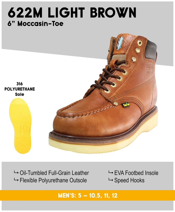 Cactus 622M Light Brown Soft Toe Work Boot