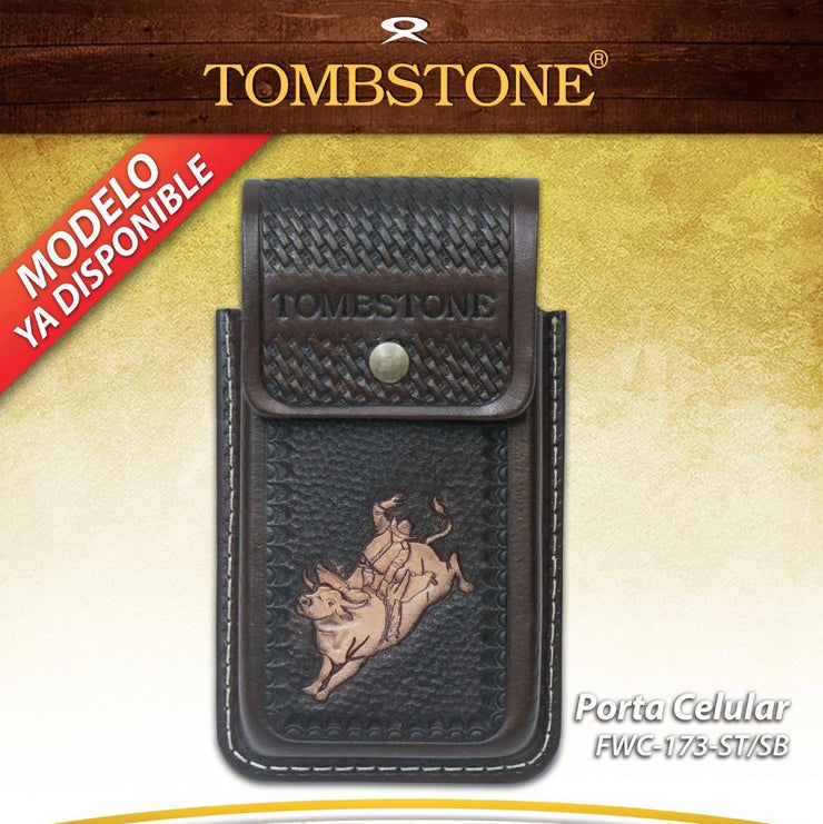 Tombstone Leather Tooled Bull Riding Cell Phone Case