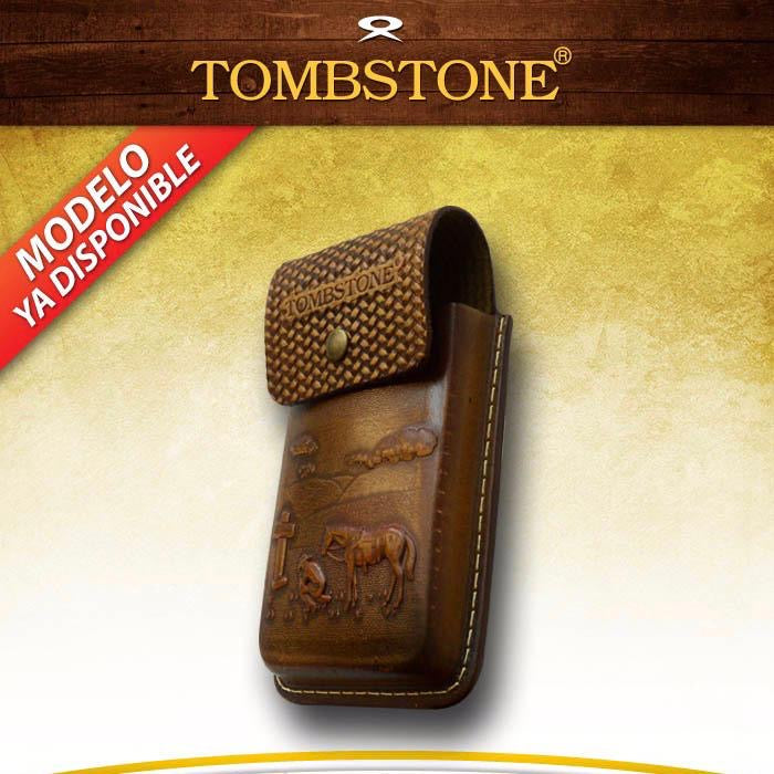 Tombstone Dark Honey Leather Tooled Ranch Cell Phone Case