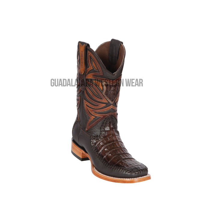 Los Altos Faded Brown Caiman Belly & Deer Wide Square Toe Cowboy Boots