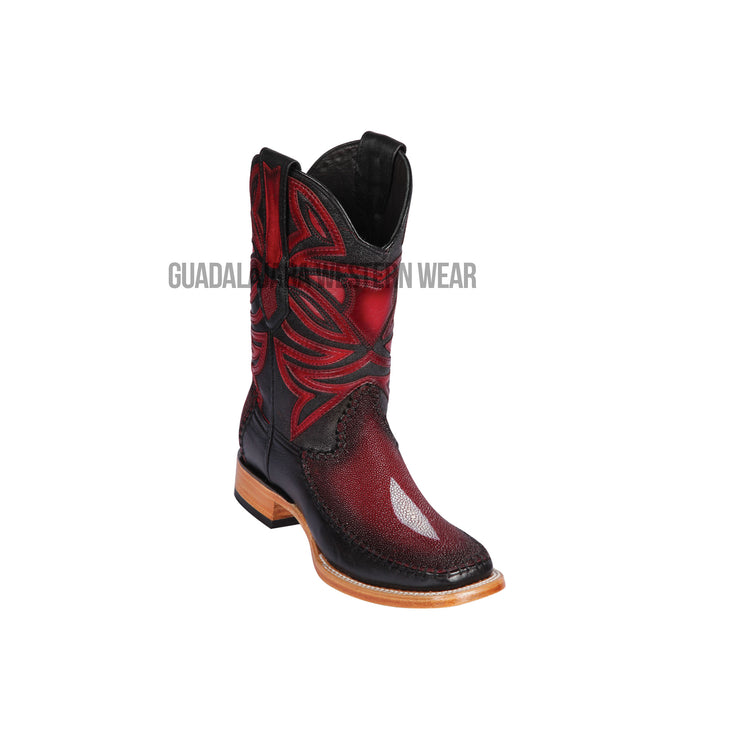 Los Altos Faded Burgundy Single Stone Stingray & Deer Wide Square Toe Cowboy Boots