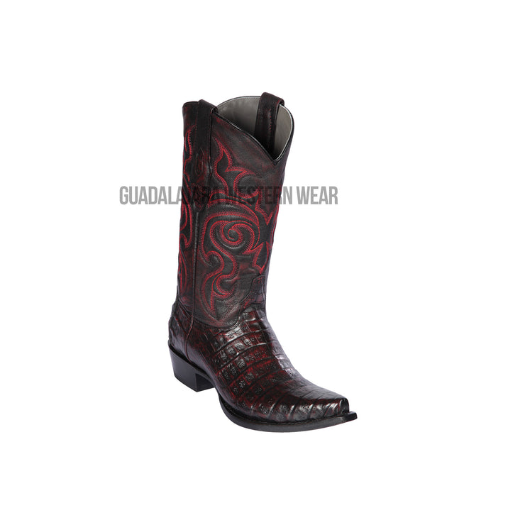 Los Altos Black Cherry Caiman Belly Snip Toe Cowboy Boots