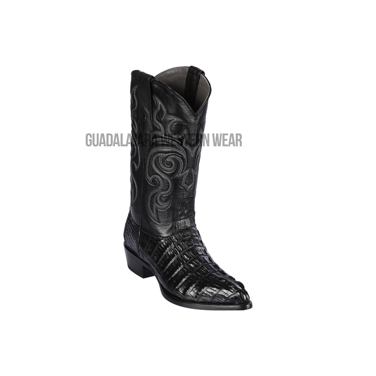 Los Altos Black Caiman Tail J Toe Cowboy Boots