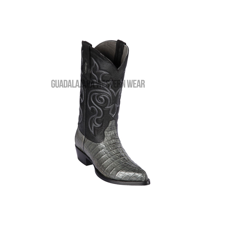 Los Altos Gray Caiman Tail J Toe Cowboy Boots