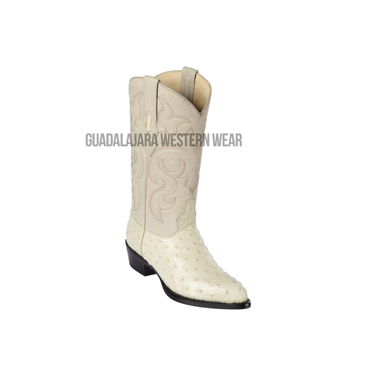 Los Altos Winter White Ostrich J Toe Cowboy Boots