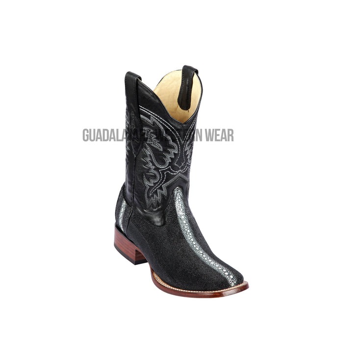Los Altos Black Stingray Rowstone Wide Square Toe Cowboy Boots