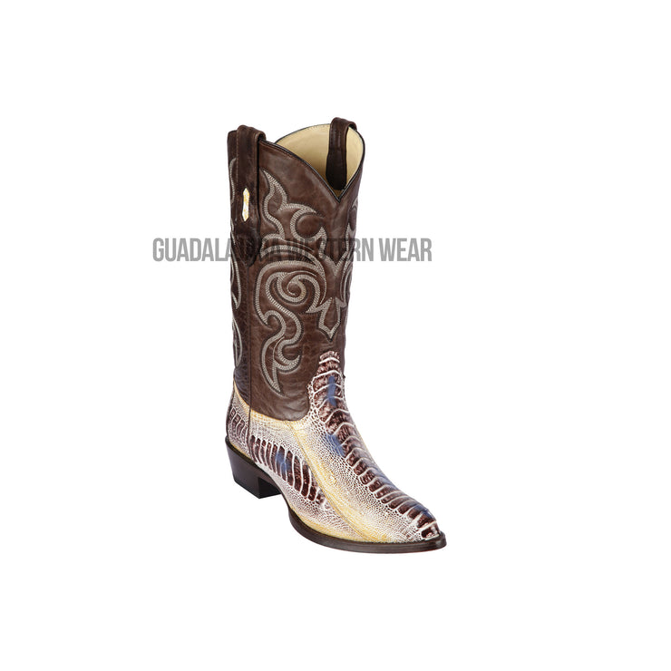 Los Altos Natural Ostrich Leg J Toe Cowboy Boots
