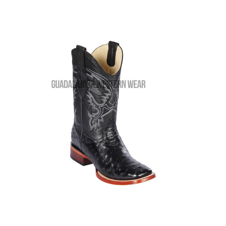 Los Altos Black Ostrich Wide Square Toe Cowboy Boots