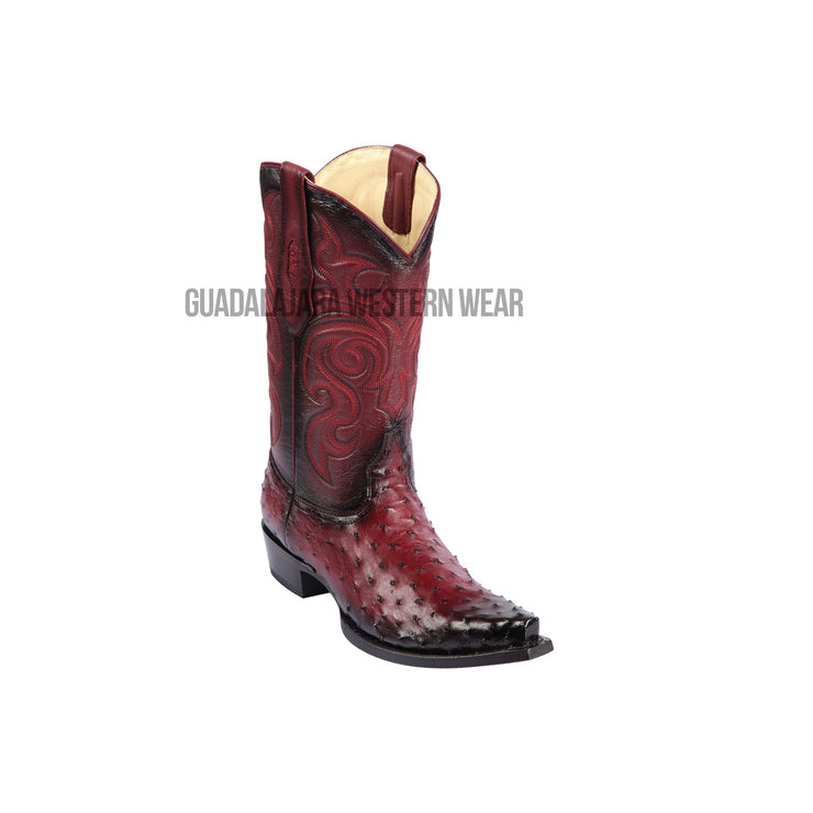 Los Altos Faded Burgundy Ostrich Snip Toe Cowboy Boots