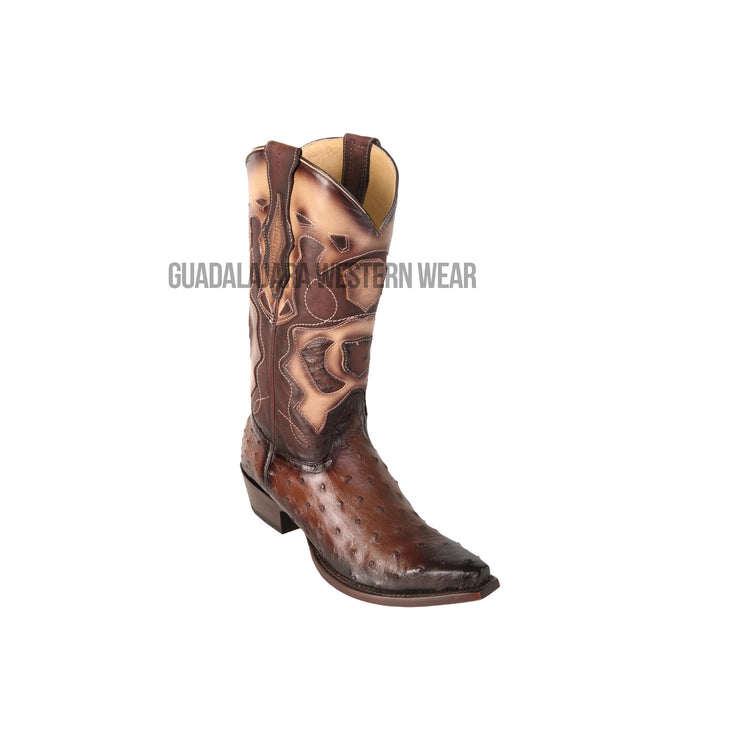 Los Altos Faded Brown Ostrich Snip Toe Cowboy Boots