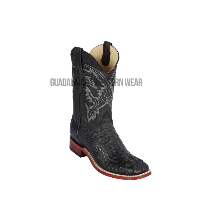 Los Altos Black Greasy Finish Caiman Hornback Wide Square Toe Cowboy Boots